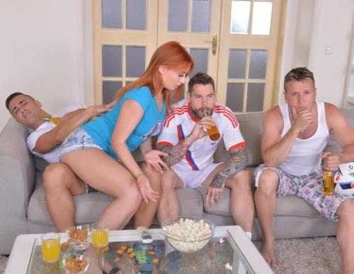 Cramming Her Fuckholes - Redhead Banged By Three Soccer Fans - Eva Berger (SiteRip/DDFNetwork/HD720p)