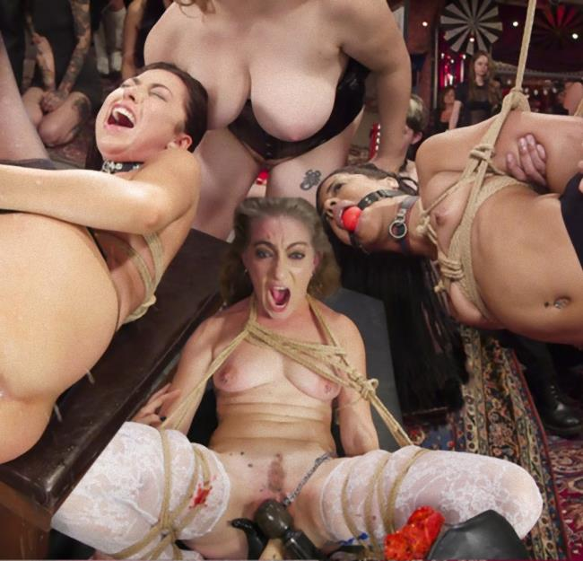 Kink/TheupperFloor: Aiden Starr, Kira Noir, Melissa Moore - Nympho Slave Slut Soaks The Folsom Orgy with Squirt [HD 720p]