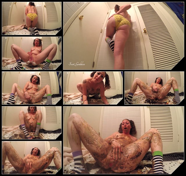 Brown Karina - Woman shitting on cake and play with feces - FullHD 1080p