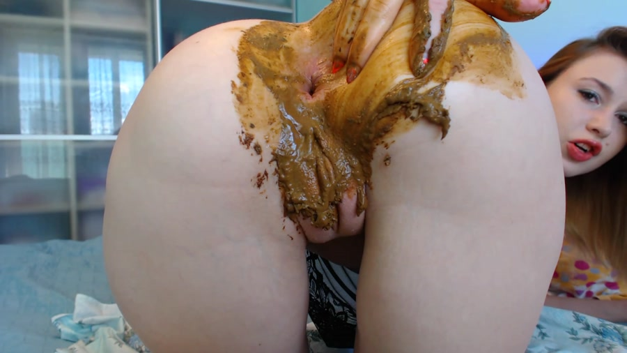 Extreme Defecation: DirtyLena - Poo play with toy and fingers, Farting [FullHD 1080p] Poop Videos / Solo