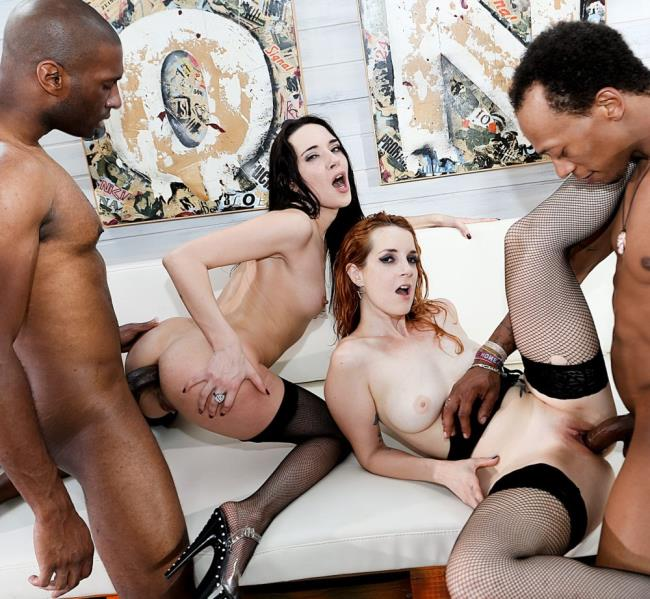 Irina Vega, Corry Cherry, Melody Mae - 4-On-3 Interracial Gang Bang BBC Orgy (2017/RoccoSiffredi/HD/720p)