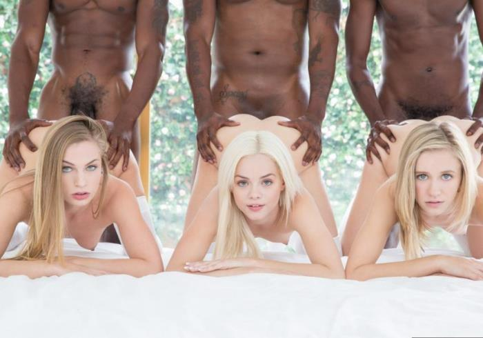 Blacked - Elsa Jean, Rachel James, Sydney Cole - Preppy Girl Threesome Get Three BBCs  (480p / SD)
