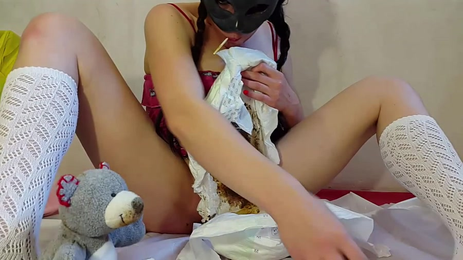 Anna Coprofield - My First Diaper and ABDL Video (Poop Smear, Solo Scat) [FullHD 1080p] [Shitting Girls]