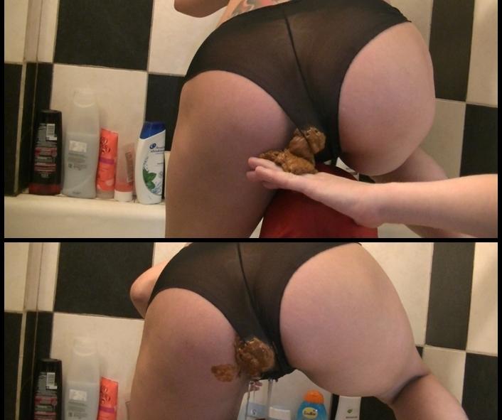 FernandaScat - Shit through panty in bathroom (Toilet Slavery, Domination, Scat)  [FullHD 1080p]