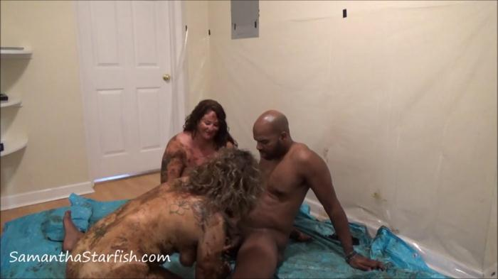 Scatology - Shit Smeared Threesome - Samantha Starfish and Scat Goddes, Black Dirty Dick (FullHD 1080p)