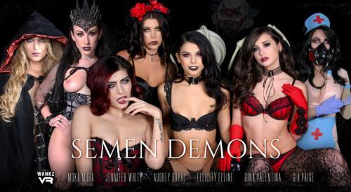 Audrey Royal, Felicity Feline, Franchezca Valentina, Gia Paige, Gina Valentina, Jennifer White, Moka Mora - Semen Demons (13.11.2017/WankzVR.com/3D/VR/2K UHD/1600p)