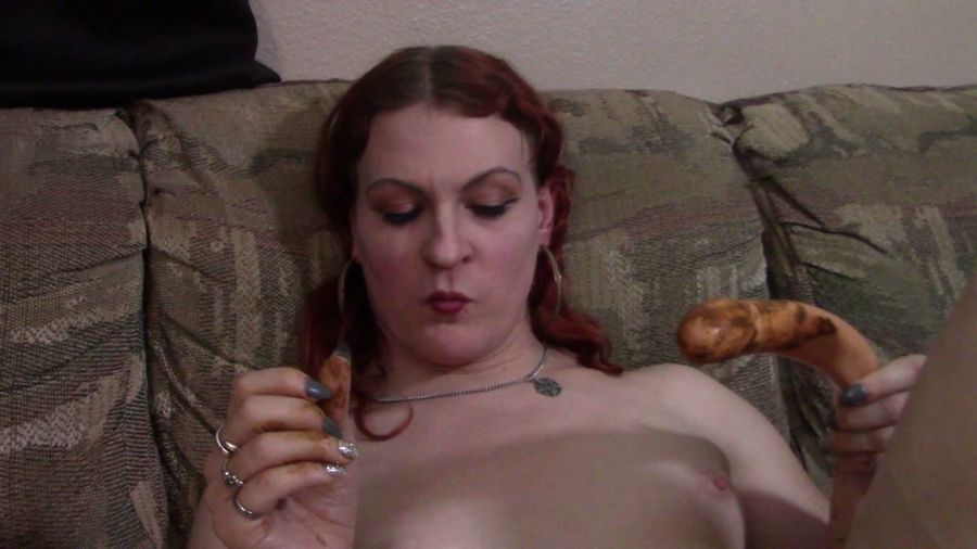 Transgirl Lycha - Licking a shitty dildo (Solo, Toys) - Stars Scat [FullHD 1080p]
