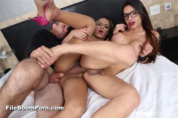PinkOTgirls: Marcelle Herrera, Juliana Leal - Brunette Shemale Dreams To Fuck A Man And A Tranny Together [SD/406p/429 MB]