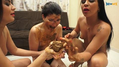 Nicole, Bruna, Chimeny - Eating two goddesses shit (FullHD 1080p)