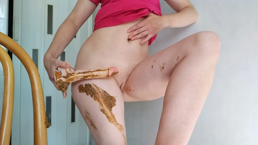 Masturbation Scat: Nasty Girl - Pooping on dildo and playing with it [FullHD 1080p] Solo, Dildo