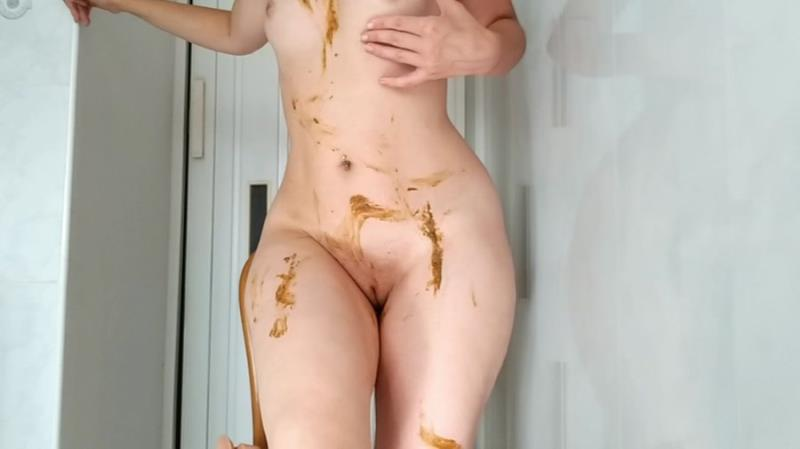Extreme Scat NastyGirl Sexy pooping on dildo playing and smearing HD 720p