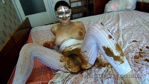 BigTitsAlisa - White pantyhose full of shit [FullHD, 1080p]