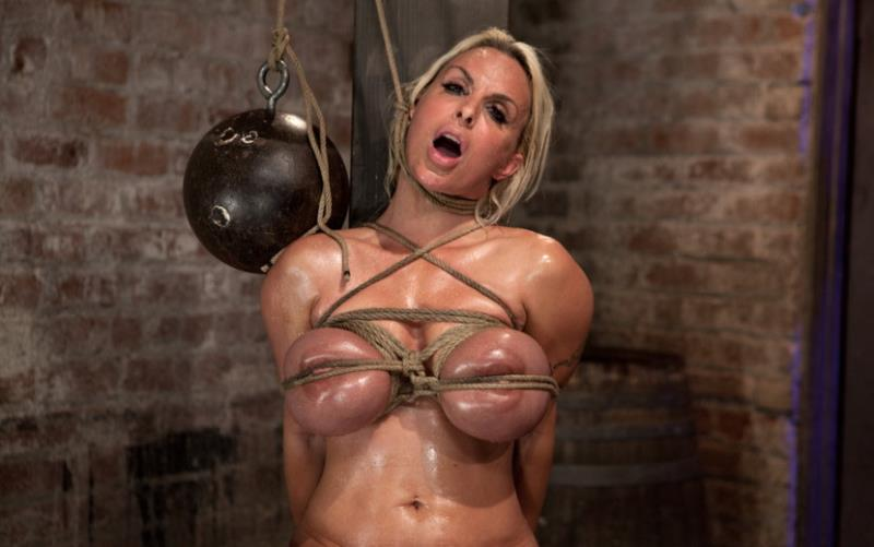 Holly Halston: American MILF Her massive breast oiled watered & bound, she can't stop cumming! (HD / 720p / 2018) [Kink]