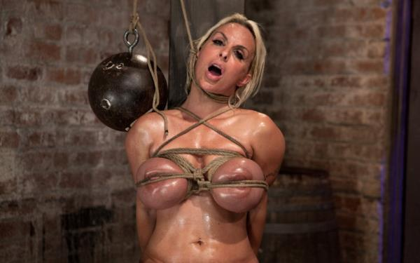 Kink: Holly Halston - American MILF Her massive breast oiled watered & bound, she can't stop cumming! (HD) - 2018