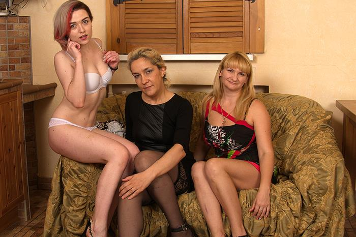 Alyona, Emmy, Nora - Three horny old and young females share one hard cock (FullHD 1080p) - Mature - [2018]