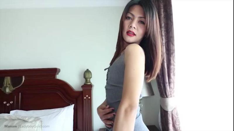 LadyboyGold: (Manaw) - Grey Dress, Pearl Necklace Bareback [SD / 383 MB]
