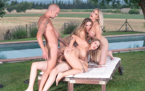 Julia Pink, Kim Davis, Mia Blow - Busty MILFs Enjoy Summertime Orgy (2019/HD)