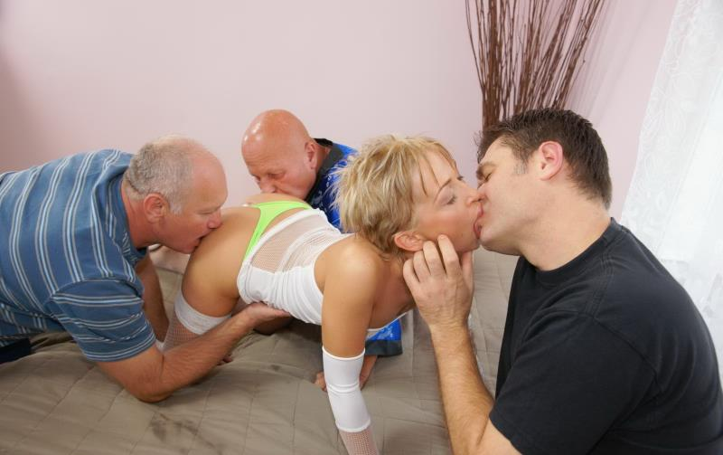 Margit: One Hot Fucking Teen Doing Three Old Guys (HD / 720p / 2019) [Old-and-young-gangbang]