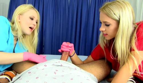 Various Actris - Two nurse pink glove handjob (HD)