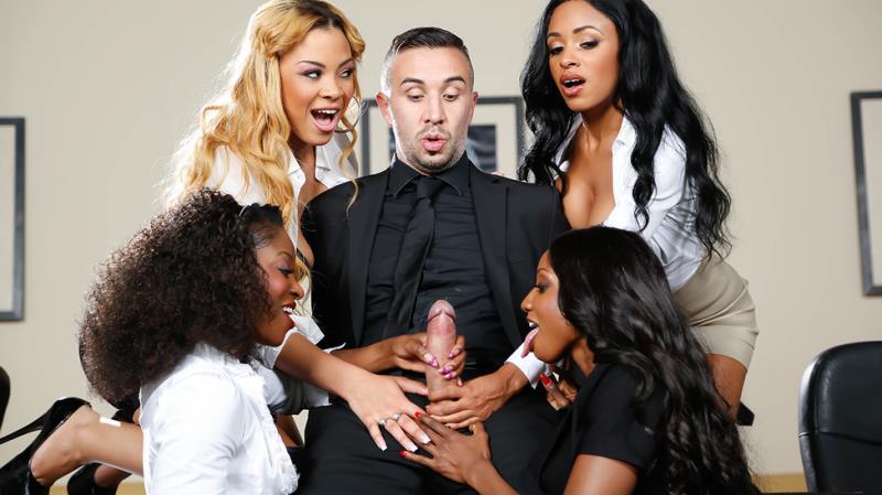 Anya Ivy, Diamond Jackson, Jade Aspen, Jasmine Webb - Office 4-Play VII: Ebony Babes (Brazzers) [HD 720p]
