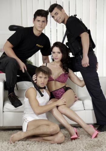 Joshua Levy, Nick Vargas, Shane Hirch, Sasha Shatalova - Police Give A Deep-Fucked Interrogation For One Hot She-Male! (2019/Staxus.com/HD)