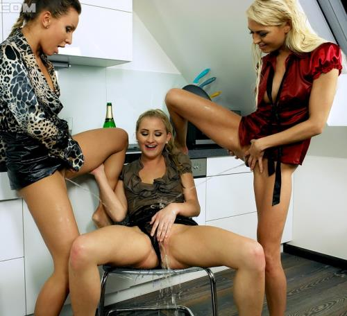 Nessy, Lena Love, Cayla Lyons - Pouring A Glass Of Piss Before Some Lesbo Business (HD)