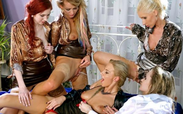Adel Sunshine, Vanessa, Angel Piaf, Nathaly Cherie, Kate Gold - The Golden Shower Power Hour: 2 Denim/Silk-Clad Misfits On 3 Piss Soaked Hardcore Lesbians (2019/HD)