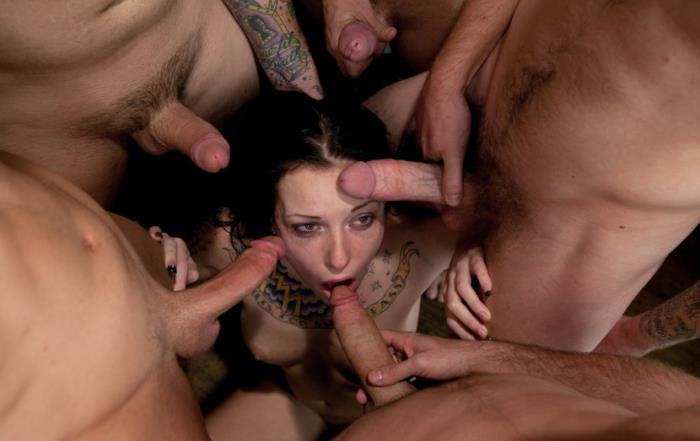 BoundGangBangs/Kink: Tattooed Hottie is Made to Submit to Five Guys - Aria Aspen [2019] (SD 540p)