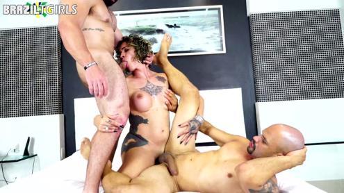 Sabrina Prezotte, Rafa Angel, Marcus - Threesome sex [FullHD, 1080p] [BrazilTgirls.xxx]