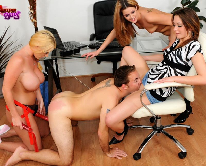 GirlsAbuseGuys: Michelle Myers, Sophie Dee, Trisha Rey Male Secretary [SD 480p]