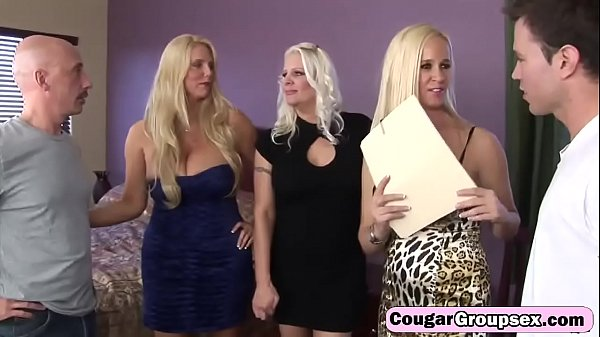 CougarSexClub: UNKNOWN Platinum blond trio of cougars have full on orgy [SD 360p]