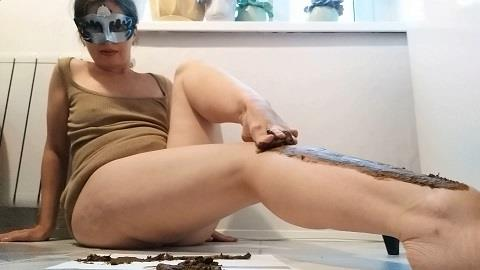 Nastygirl - Pooping and smearing poo with foot (FullHD 1080p)